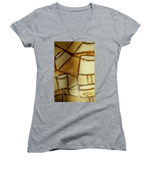 Women's V-Neck T-Shirt (Junior Cut) featuring the painting Abstract Lamp #1 by Shea Holliman