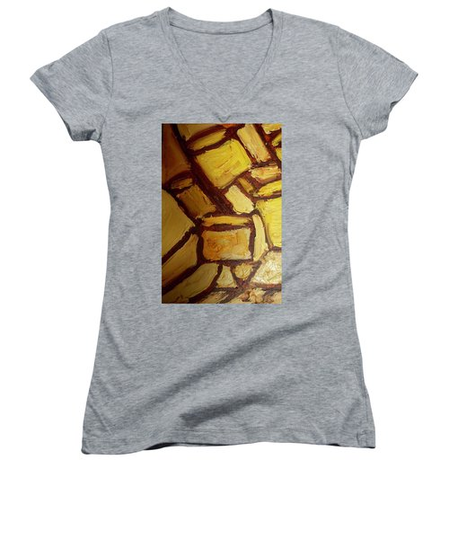 Women's V-Neck T-Shirt (Junior Cut) featuring the painting Abstract Lamp #2 by Shea Holliman