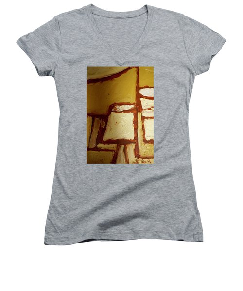 Women's V-Neck T-Shirt (Junior Cut) featuring the painting Abstract Lamp Number 4 by Shea Holliman