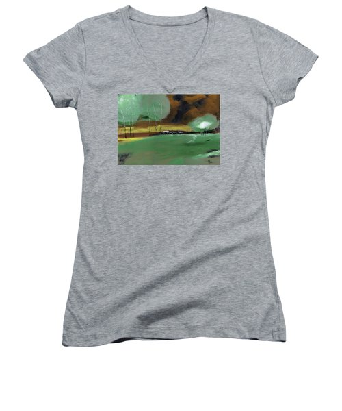Women's V-Neck T-Shirt (Junior Cut) featuring the painting Abstract Landscape by Anil Nene
