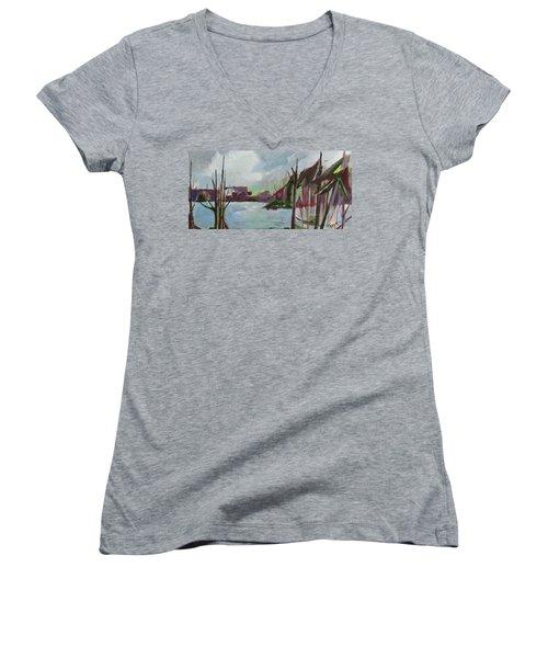 Abstract Landscape Women's V-Neck T-Shirt