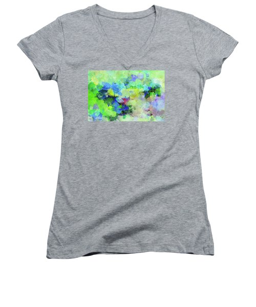 Women's V-Neck T-Shirt (Junior Cut) featuring the painting Abstract Landscape Painting by Ayse Deniz