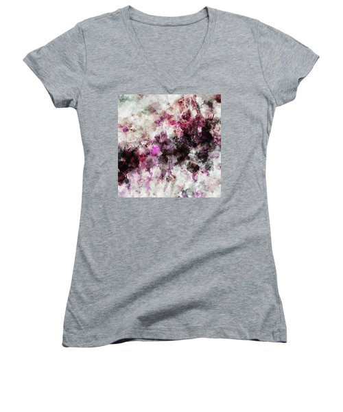 Women's V-Neck T-Shirt (Junior Cut) featuring the painting Abstract Landscape Painting In Purple And Pink Tones by Ayse Deniz