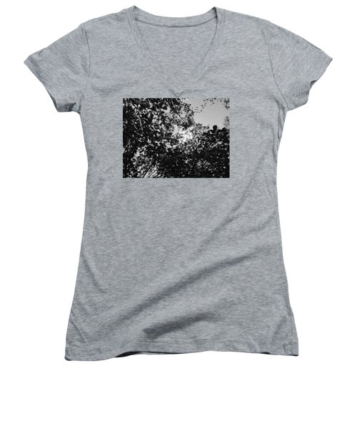 Abstract Leaves Sun Sky Women's V-Neck
