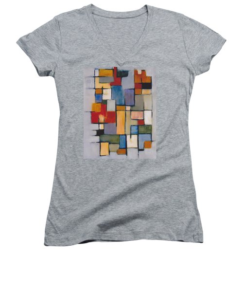 Abstract Line Series  Women's V-Neck T-Shirt (Junior Cut)