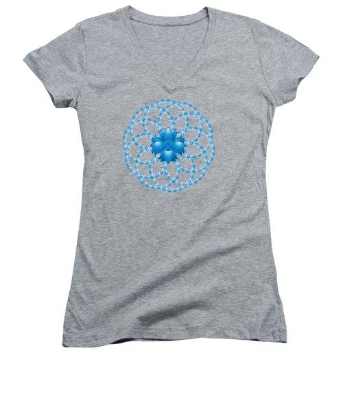 Abstract Lotus Flower Symbol Women's V-Neck T-Shirt (Junior Cut) by Serena King