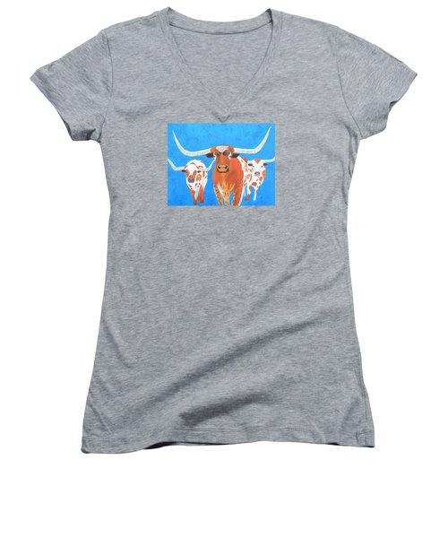 Abstract Mehndi Texas Longhorns Women's V-Neck (Athletic Fit)