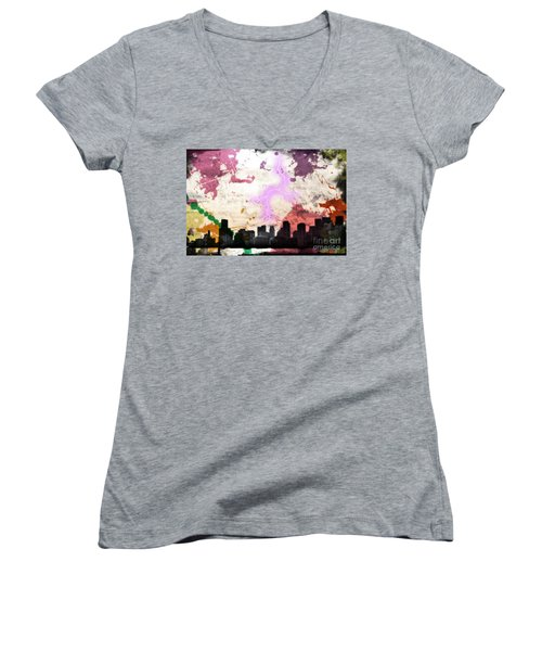 Lightning Strikes  Women's V-Neck T-Shirt (Junior Cut) by Gary Smith