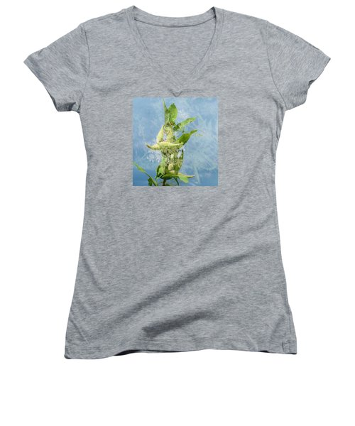Abstract Milkweed Women's V-Neck T-Shirt (Junior Cut) by Jeanette Oberholtzer