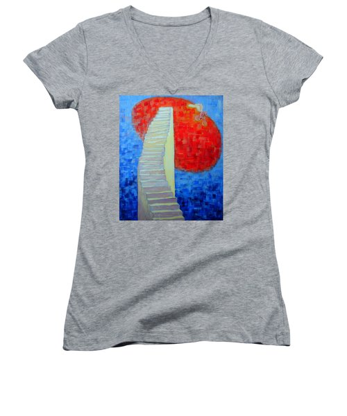 Women's V-Neck T-Shirt (Junior Cut) featuring the painting Abstract Moon by Ana Maria Edulescu
