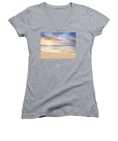 Abstract Morning Tide Women's V-Neck T-Shirt (Junior Cut) by Anthony Fishburne