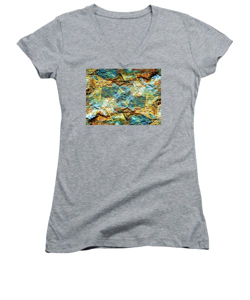Abstract Nature Tropical Beach Rock Blue Yellow And Orange Macro Photo 472 Women's V-Neck