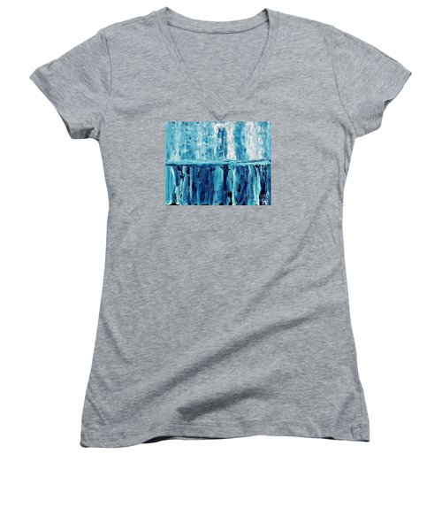 Abstract Niagra Falls Women's V-Neck T-Shirt (Junior Cut) by Marsha Heiken