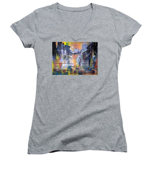 Abstract Of Motion Women's V-Neck T-Shirt (Junior Cut) by Raymond Doward