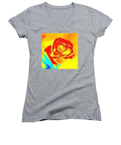 Abstract Orange Rose Women's V-Neck T-Shirt (Junior Cut) by Karen J Shine