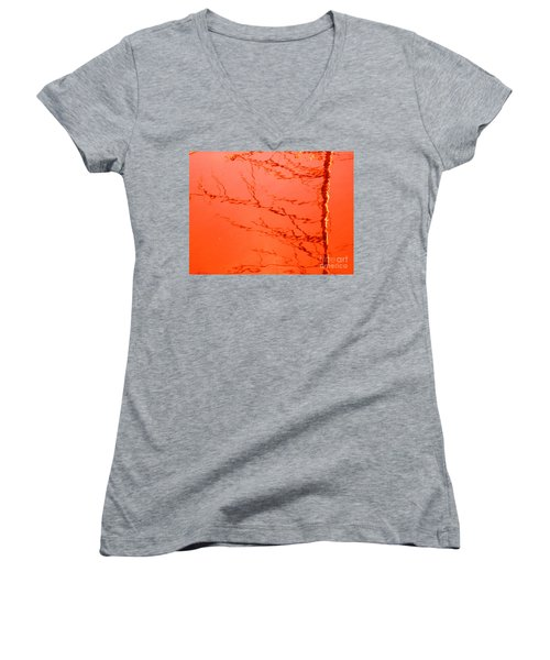 Abstract Orange Women's V-Neck (Athletic Fit)