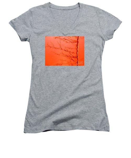 Abstract Orange Women's V-Neck T-Shirt