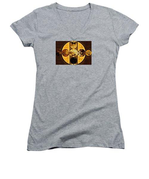 Abstract Painting - Sepia Women's V-Neck T-Shirt (Junior Cut) by Vitaliy Gladkiy