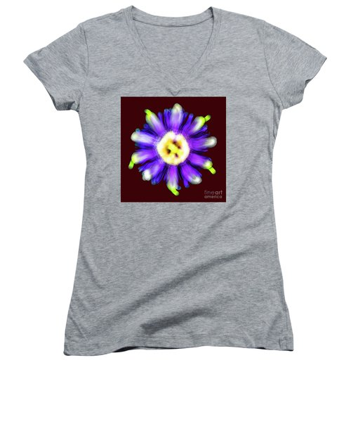Abstract Passion Flower In Violet Blue And Green 002r Women's V-Neck