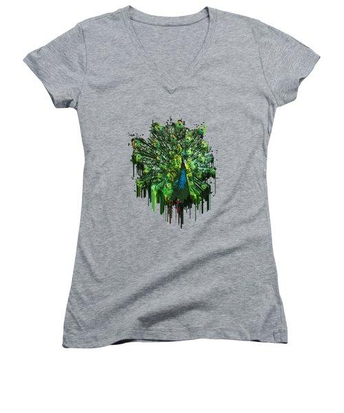 Abstract Peacock Acrylic Digital Painting Women's V-Neck T-Shirt