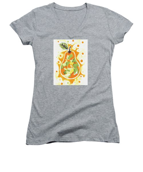Women's V-Neck T-Shirt (Junior Cut) featuring the painting Abstract Pear by Kathleen Sartoris