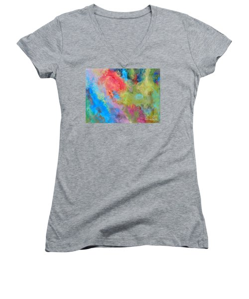 Abstract Women's V-Neck T-Shirt (Junior Cut) by Reina Resto