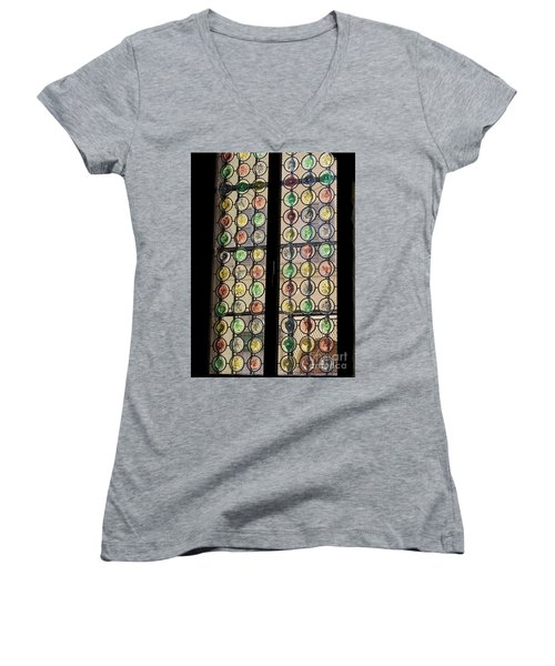 Abstract Stained Glass Women's V-Neck T-Shirt (Junior Cut) by Patricia Hofmeester