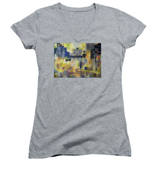 Women's V-Neck T-Shirt (Junior Cut) featuring the painting Abstract Stroll by Raymond Doward