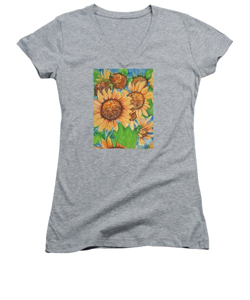 Women's V-Neck T-Shirt (Junior Cut) featuring the painting Abstract Sunflowers by Chrisann Ellis