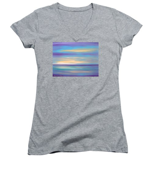 Abstract Sunset In Purple Blue And Yellow Women's V-Neck (Athletic Fit)