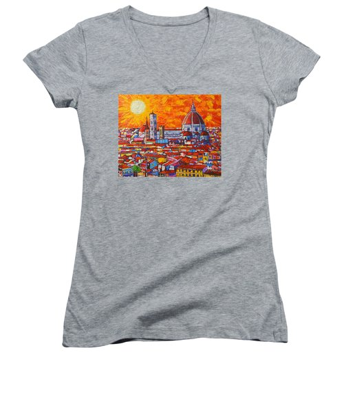 Abstract Sunset Over Duomo In Florence Italy Women's V-Neck T-Shirt (Junior Cut) by Ana Maria Edulescu