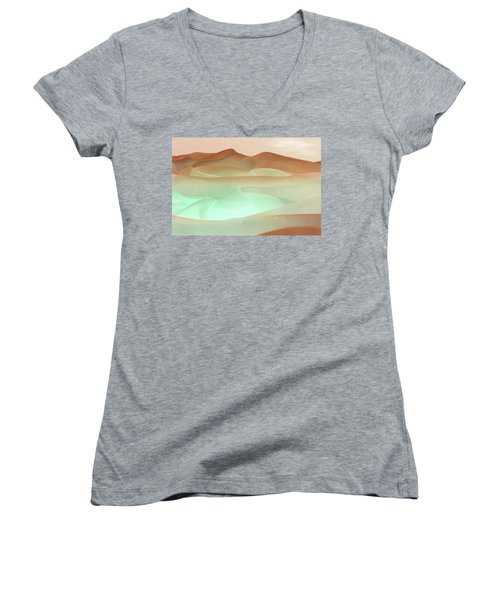 Abstract Terracotta Landscape Women's V-Neck (Athletic Fit)