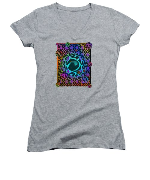 Women's V-Neck T-Shirt (Junior Cut) featuring the digital art Abstract - The Fabric Of Life by Glenn McCarthy Art and Photography