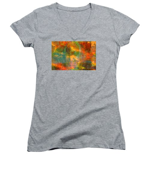 Abstract The World As It Is  Women's V-Neck T-Shirt (Junior Cut) by Sherri's Of Palm Springs