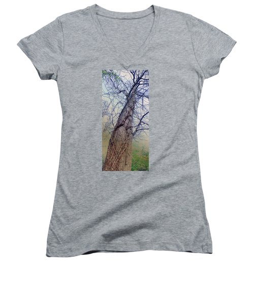 Abstract Tree Trunk Women's V-Neck (Athletic Fit)