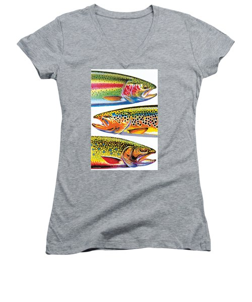 Abstract Trout Women's V-Neck (Athletic Fit)