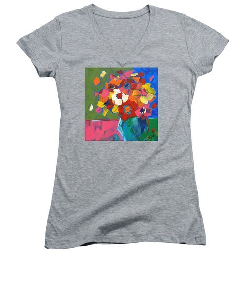 Abstract Vase Women's V-Neck (Athletic Fit)