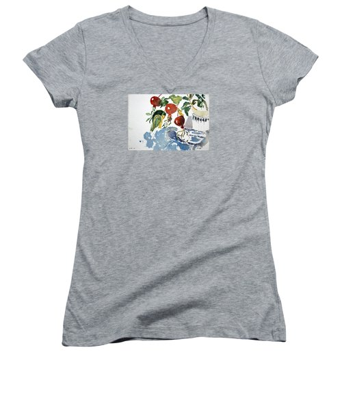 Abstract Vegetables 2 Women's V-Neck (Athletic Fit)