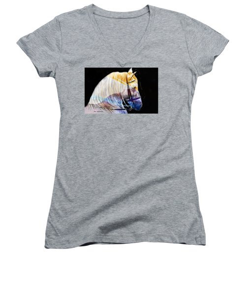 Women's V-Neck T-Shirt (Junior Cut) featuring the painting Abstract White Horse 50 by J- J- Espinoza