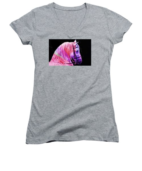 Women's V-Neck T-Shirt (Junior Cut) featuring the painting Abstract White Horse 56 by J- J- Espinoza