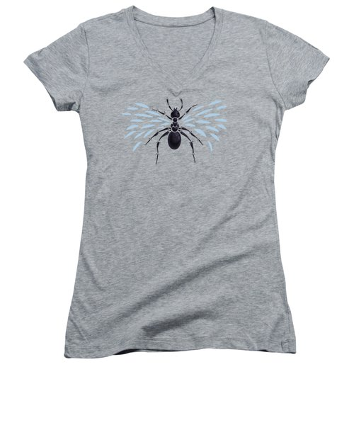 Abstract Winged Ant Women's V-Neck T-Shirt (Junior Cut) by Boriana Giormova