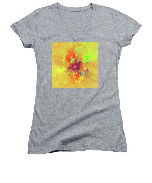 Women's V-Neck T-Shirt (Junior Cut) featuring the digital art Abstract With Yellow by Deborah Benoit