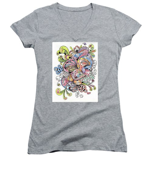 Abstract2colored Women's V-Neck T-Shirt