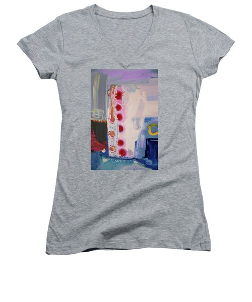 abstraction, fire in the Chakras Women's V-Neck T-Shirt (Junior Cut) by Amara Dacer