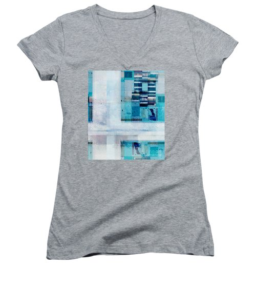 Women's V-Neck T-Shirt (Junior Cut) featuring the digital art Abstractitude - C02v by Variance Collections