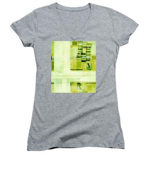 Women's V-Neck T-Shirt (Junior Cut) featuring the digital art Abstractitude - C4v by Variance Collections