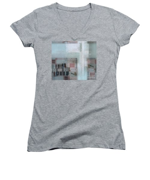 Women's V-Neck T-Shirt (Junior Cut) featuring the digital art Abstractitude - C7 by Variance Collections