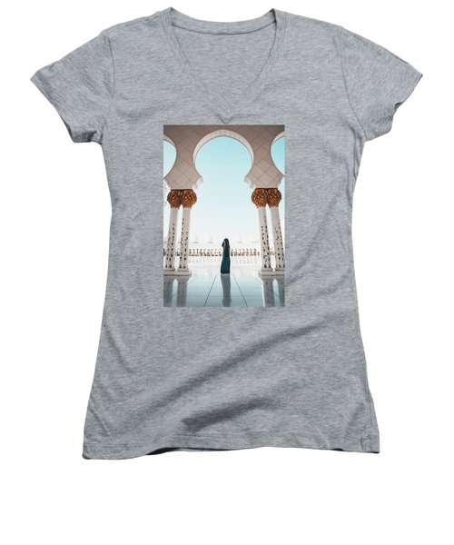 Abu Dhabi Mosque Women's V-Neck (Athletic Fit)