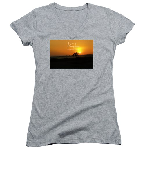 Women's V-Neck T-Shirt (Junior Cut) featuring the photograph Acacia Tree Sunrise by Karen Lewis