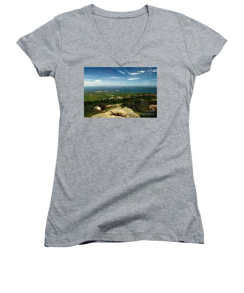 Women's V-Neck T-Shirt (Junior Cut) featuring the photograph Acadia by Raymond Earley